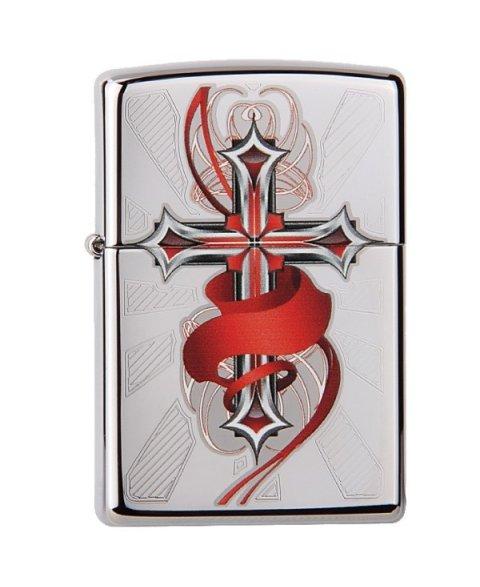 Lighter ZIPPO 28526 Cross with Wings High Polish Chrome