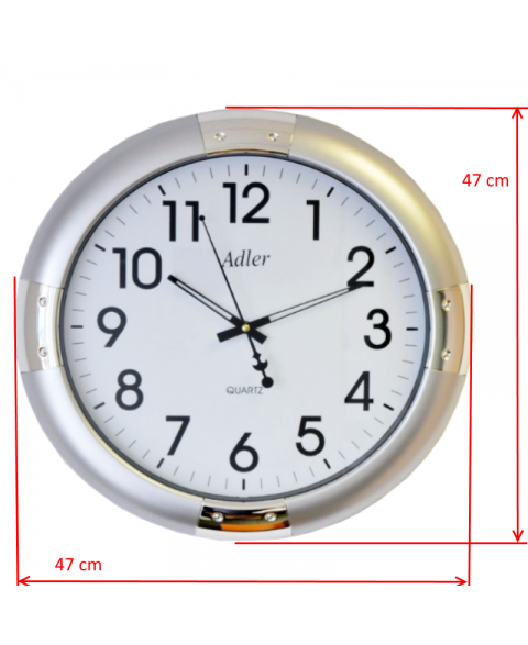 ADLER 30132 SILVER Quartz Wall Clock